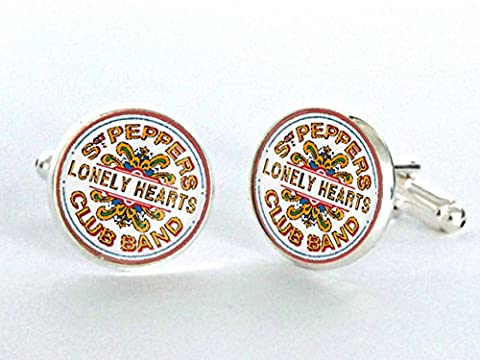 Sergeant Peppers Lonely Hearts Club Band Silver Plated Cufflinks - Blackbird Studio