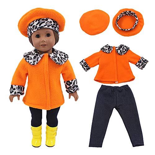 Conjunto de Traje de Moda Camisa Estampada Leopardo + pantalón Negro + Gorro Estampado para 18 Pulgadas Muñeca Americana Chica Gusspower