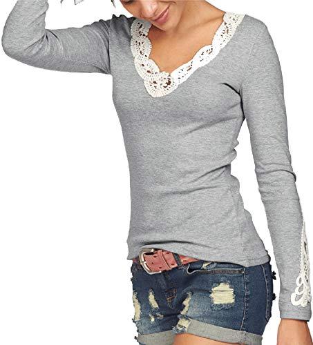 TrendiMax Damen V-Ausschnitt Langarmshirt Baumwolle Shirt Langarm Casual Oberteile,M,Grau