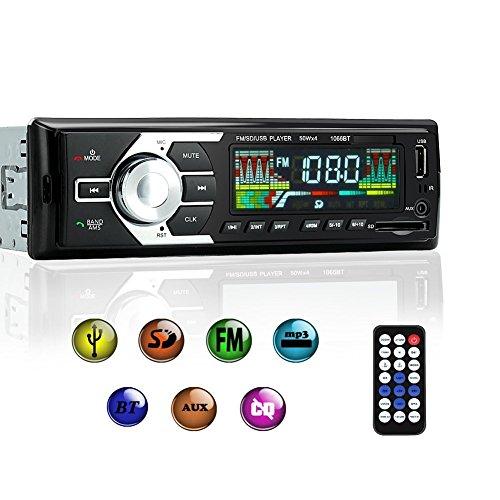 KYG Radio de Coche de audio USB/SD/MP3 Receptor Bluetooth manos libres con control remoto Negro
