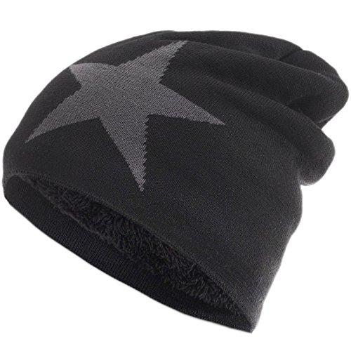 Compagno Gefütterte Beanie Slouch Star aus atmungsaktiver, feiner und leichter Viskose Unisex Mütze, Farbe:Schwarz