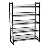 SONGMICS 5 Tier Metal Mesh Shoe Rack with Flat & Angled Shelves, Large Stackable and Adjustable Boots Storage Organiser in Hallway Closet LMR005B