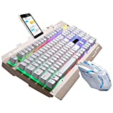 MRULIC G700 LED Rainbow Color Backlight Gaming Game USB Wired Keyboard Mouse Set LOL (Weiß)