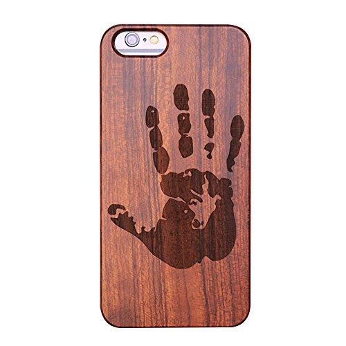 Forepin® Custodia in Naturale Legno per iPhone 6 / 6S 4.7 Pollice, Ultra Sottile Plastica Dura e Legno di Sandalo Copertura in Modello Scultura Intaglio Custodia Protettiva Paraurti - handprint Intaglia i Modelli