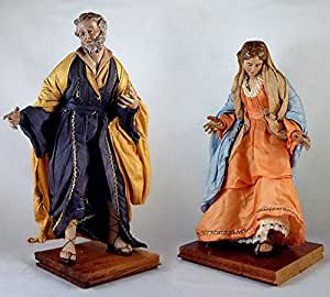 Pastori e Presepi - San Giuseppe e Madonna categoria 25 cm in stoppa e terracotta con occhi di cristallo - Presepemania