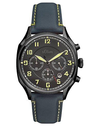 s.Oliver Herren-Armbanduhr Chronograph Quarz Leder SO-3181-LC