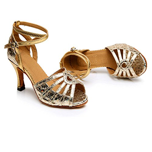 TMKOO& scarpe ballo liscio latino sandali femminili scarpe per adulti di ballo con l'estate morbido fondo quadro scarpe da ballo Gold