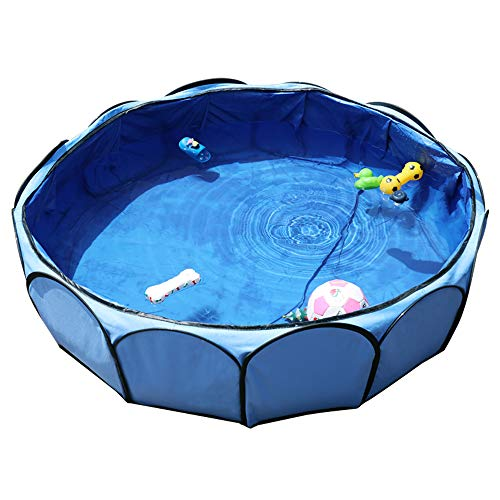 Petsfit Foldable Dog Swimming Pool, Pet Puppy Bathing Tub, Outdoor Garden Pool for Dogs and Puppies,Bule Color, 104cm Diameter x 30cm Height