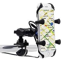 Samoleus Universale Rotante Cellulare Moto Motocycle Supporto con Porta Di Ricarica USB (Titolare di Stand X-Grip)