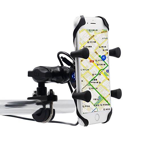 Samoleus Porta Cellulare Moto, Universale 360° Rotante Porta Telefono Moto Motocycle Bici Supporto con Porta Di Ricarica USB (Titolare di Stand X-Grip)