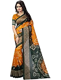 (MACUBE SAREE)Bhagalpuri New Designer Yellow And Green Color Bandhni Saree With Blouse Piece(MS789)