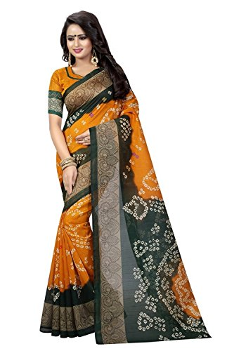 Calendar Bhagalpuri Silk Saree With Blouse Piece (Cs789_Bandhani 12_Orange_Free Size)
