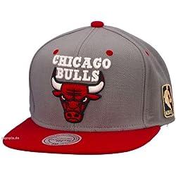 Mitchell & Ness - Gorra de la NBA, diseño de los Chicago Bulls, color gris y rojo