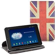 kwmobile Funda para Asus Memo Pad HD 7 - Case de 360 grados de cuero sintético para tablet - Smart Cover completo y plegable para tableta en rojo blanco azul