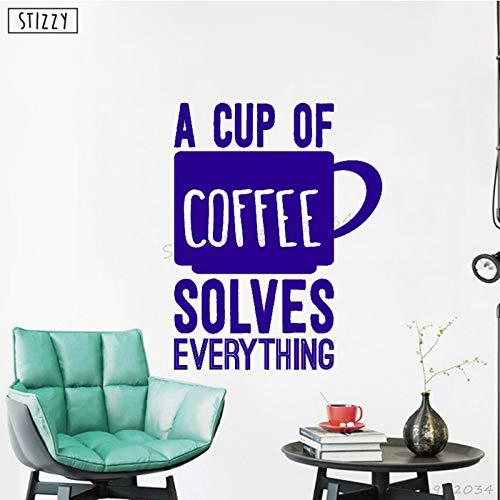 zhuziji Adesivo murale Cafe Window Logo Design Adesivi murali in Vinile Citazioni Una Tazza di caffè risolve Tutto Cucina Cucina Home Decor 888-2 69x88cm