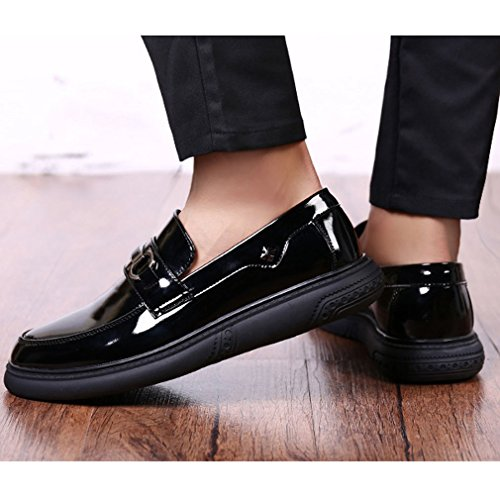 Xianshu Hommes Cuir Verni Flâneurs Enfiler Chaussures noir Glisser sur