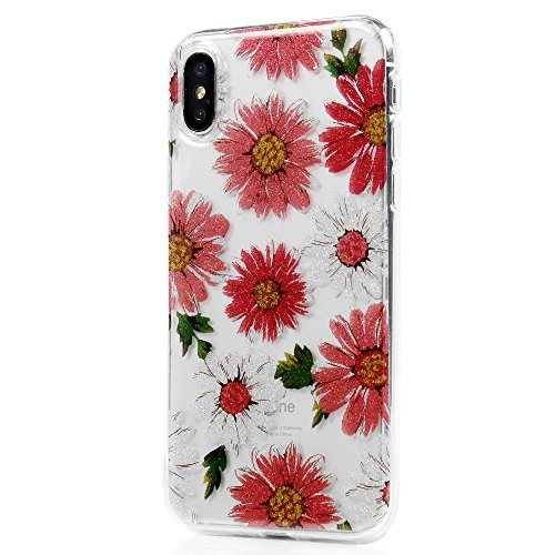 Coque iPhone X Mavis's Diary Étui Housse de Protection TPU Silicone Gel Souple Bumper Coque Phone Case Cover Swag Protection écran Pour iPhone X Ultra Mince Léger Flexible Fine + Chiffon - Rose Fleur rouge