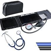 Blutdruckmessgerät mit Klettmanschette inkl. Stethoskop und Aufbewahrungstasche (Farbwahl)