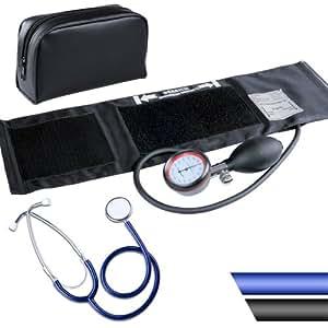 Tensiomètre - Stéthoscope BLEU - tube simple - Aluminium, PVC, ABS - étui de rangement - DIVERSES COULEURS AU CHOIX