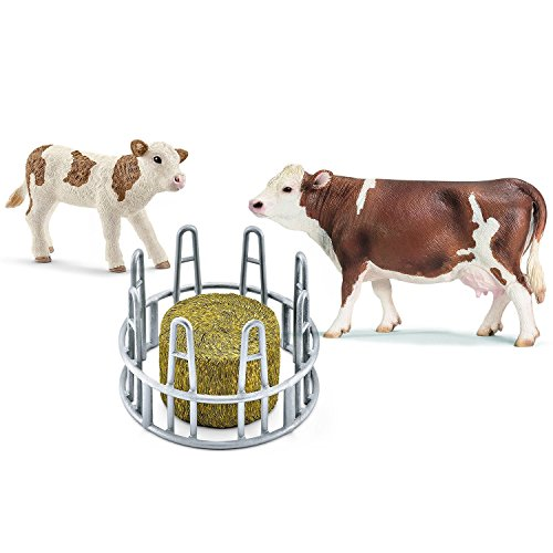 Schleich Heuraufe mit Heu-Rundballen Fleckvieh Kuh und Kalb Bauernhof 13641 13802 41421 3er Set