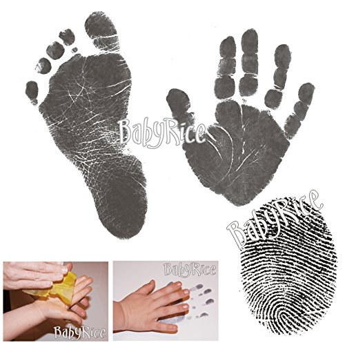 BabyRice Value Baby Handprints and Footprints Kit Black Inkless Wipes No Messy Ink! Choose pack size 51Nkr8H3H1L