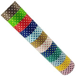 AUFODARA 12pcs Washi Masking Tape Collage DIY Making Sticker Dots Decorative Tape (Mustern AFDR02)