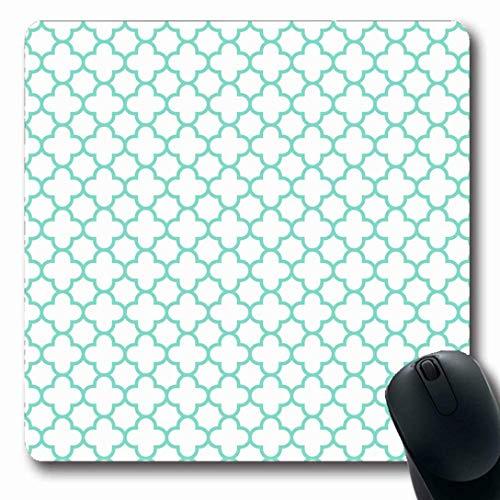 Luancrop Mauspads für Computer Blue Trellis Weiß Aqua Quatrefoil Pattern Grün Baby Classic Clover Foil Geometrische, rutschfeste, längliche Gaming-Mausunterlage Blue Trellis