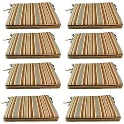 Edenjardi Pack 8 Cojines para sillas y sillones de jardín Color Lux Estampado a Rayas | Tamaño 44x44x5 cm | Repelente al Agua | Desenfundable | Portes Gratis