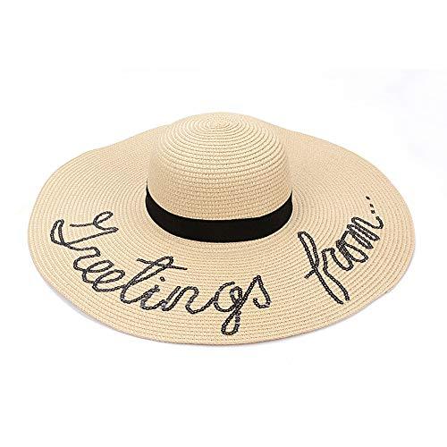 ADBQM Frauen Sommer Sonnenschirm Hut Outdoor Strand Freizeit Sonnenhut Damenmode Kleid Kuppel Strohhut Big Hat Traufe Umfang 21,6