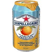 Sanpellegrino Aranciata Orangen Limonade (Einweg Dosen, hoher Fruchtanteil 20% frisch gepresster Orangen, Leicht herbe Geschmacksnote, ideal für unterwegs) 24er Pack (24 x 0,33l)