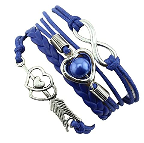 Ukamshop(TM)1PC Infinity Love Heart Pearl Friendship Antique Leather Charm Bracelet (Blue)