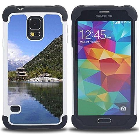 Hypernova Ibrido Heavy Duty Armatura antiurto Cover silicone cassa caso robusto Per SAMSUNG Galaxy S5 V / i9600 / SM-G900 [Tempio Natura asiatico]