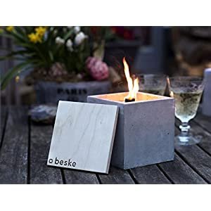 Beske-Betonfeuer mit 'Dauerdocht' | Größe 13x13x13 | Wiederbefüllbare Gartenfackel in zeitlosem, puristischem...