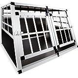 LovPet® Alu Hundebox Alubox Hundetransportbox ✓ Transportbox ✓ Reisebox ✓ Haustiere | Stabil | Größe: XL Doppeltüren | Farbe: Schwarz / Silber