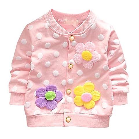 ESHOO Baby Mädchen Blume mit Punkten Langarm Strickjacke Frühling Herbst Mantel