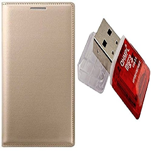 VinyakMobile Leather Cover with Card Reader Flip Cover Combo for Samsung SM-G7106 Galaxy Grand 2 - Golden