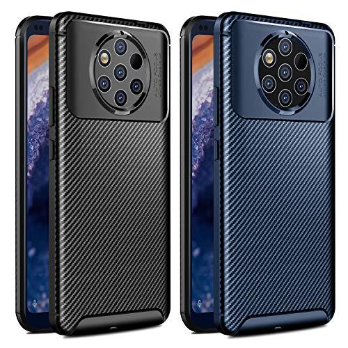 VGUARD [2 Pack Cover per Nokia 9 PureView, [Fibra di Carbonio] Custodia Protezione in Morbida Silicone TPU Case per Nokia 9 PureView (Nero+Blu)