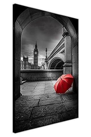 """Parapluie Rouge sous Big Ben Noir et blanc encadrée Impressions sur toile City photos, noir/blanc, 04- 30"""" X 20"""" (76cm X 50cm)"""