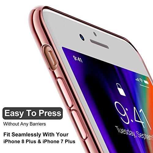 iPhone 8 Plus Hülle, iPhone 7 Plus Hülle, CASEKOO Silikon Dünn Case Transparent Weich Durchsichtig Leicht Cover Ultra Slim TPU Schlank Bumper Handyhülle Soft Kratzfest Schutzhülle für iPhone 8 Plus un f.Rosa Gold