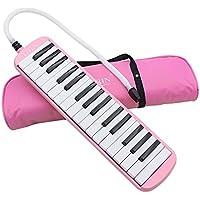 Melódica de 32 teclas, un instrumento musical ideal de regalo para los amantes de la música principiantes, con bolsa de transporte, azul (rosa)