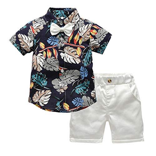 TTLOVE Kleinkind Baby Boy Bekleidung Kurzarm Fliege Gentleman Leaf T-Shirt Tops + Shorts Outfits,Jungen Kinder Sommer Kleidung Set Mode Kurze Und Hosen (Marine,120) (Infant Baseball Jersey)