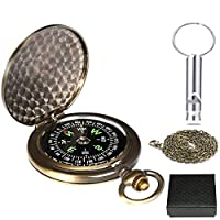 Funmo Compass+Whistle,compass navigation,Clamshell Pocket Compass,Waterproof Luminous Compass for Military Navigation with Pouch Lanyard,Outdoor Tools for Camping Hiking Riding,Gift