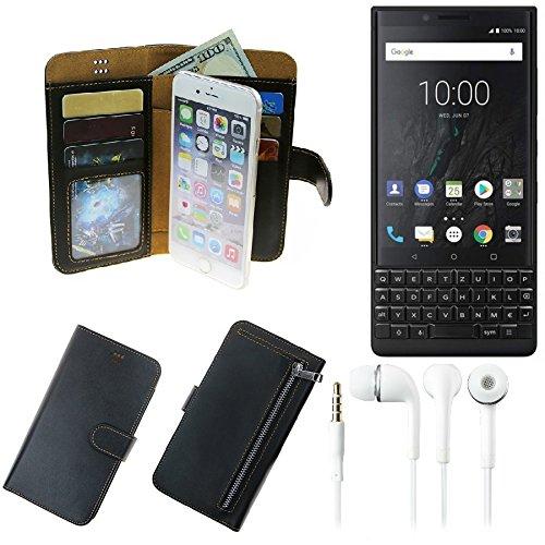 TOP SET für Blackberry KEY2 (Dual-SIM) Portemonnaie Schutz Hülle schwarz aus Kunstleder + Kopfhörer Walletcase Smartphone Tasche für Blackberry KEY2 (Dual-SIM) vollwertige Geldbörse mit Hand