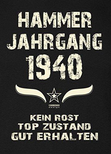 Geburtstagsgeschenk T-Shirt Frauen Geschenkidee Zum 77. Geburtstag Hammer Jahrgang 1940 - Damenshirt - Freizeitshirt Frauen Farbe: schwarz Schwarz