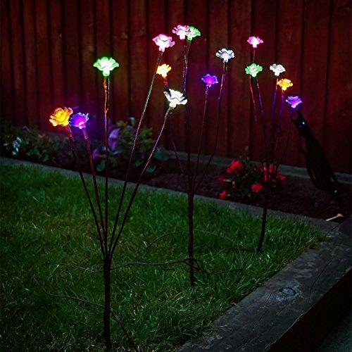 Solalite® Set von 3stylischer Ornament solarbetrieben 60LED Ast Lights Outdoor Garten, multi, Multi Coloured Rose Lights, Solar