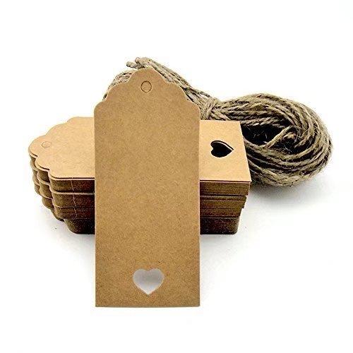Foto de STONCEL 100pcs etiquetas de regalo / etiquetas colgantes de Kraft con cadenas de corte libre para regalos Artesanías y etiquetas de precio estilo de etiqueta ondulada color rectangular con corazón