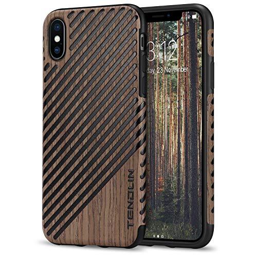 TENDLIN für iPhone XS Hülle/iPhone X Hülle Holz & Leder Flexiblem TPU Silikon Hybrid Weiche Schutzhülle Kompatibel mit iPhone XS & iPhone X (Schwarz Palisander und Leder)