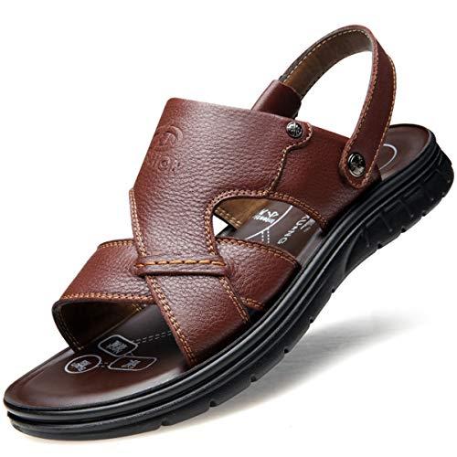 MERRYHE Herren Plus Size Athletic Sandalen, Open Toe Casual Leder Komfort Sandalen, leichte Strand Hausschuhe Flache Schuhe,Brown-50 Athletic-open-toe-sandalen