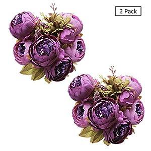 Tifuly 2 Piezas de Ramos de peonía Artificial, Ramo de Flores de imitación de peonías de Seda realistas para la…
