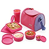 #9: Cello Max Fresh Sling Lunch Box 5 Container With Bag Pink